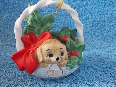 Vintage Dog In Basket with Bow & Holly Ceramic Christmas Ornament