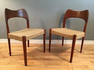 Pair of Mid century modern Teak and Danish paper cord chairs