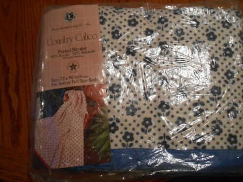 """Owen 5th Generation COUNTRY CALICO Blue Printed Blanket 72"""" by 90"""" NEW"""