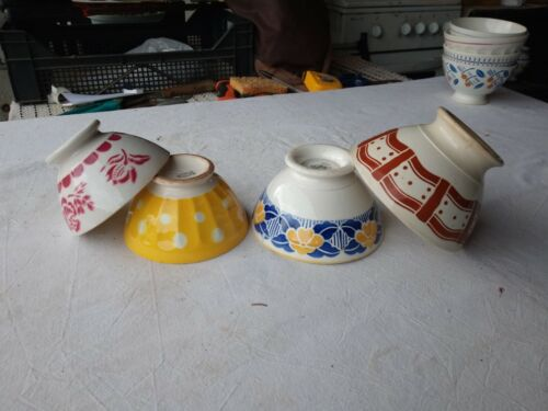 4 French Vintage Café au Lait Bowls