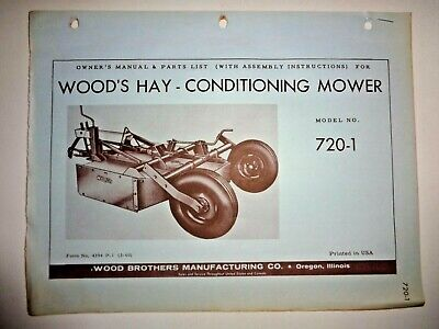 Woods 720-1 Hay Conditioning Rotary Mower Operators Owners Parts Manual Catalog