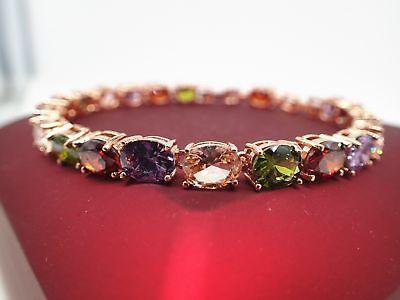 18K Rose gold Solid 5mm Multi-color Oval Gemstone Women's Tennis bracelet 19cm