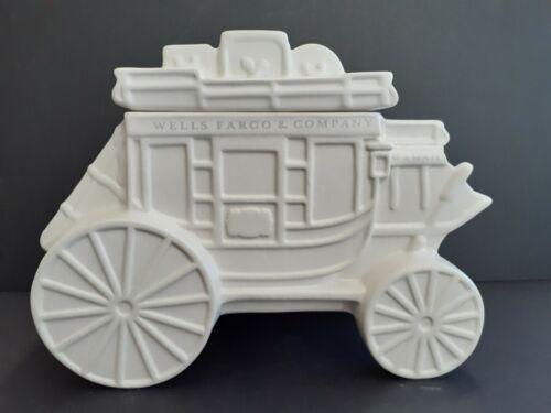 Wells Fargo Stagecoach, White Ceramic Jar w/ lid, Western / Financial Bank Décor