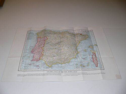 HAMMONDS NEW WORLD ATLAS Specimen Page Spain Vintage