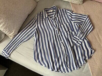 Ladies H&M Striped Shirt Blue Size 8 Smart Casual Cute