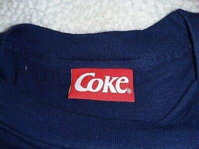 VTG  1995 Coke Coca Cola Polar Bear Fireman Print SINGLE STITCH Promo T Shirt L