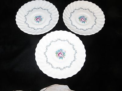 """3 Royal Doulton Bone China """"The Chelsea Rose"""" Saucers - H4801 - England"""
