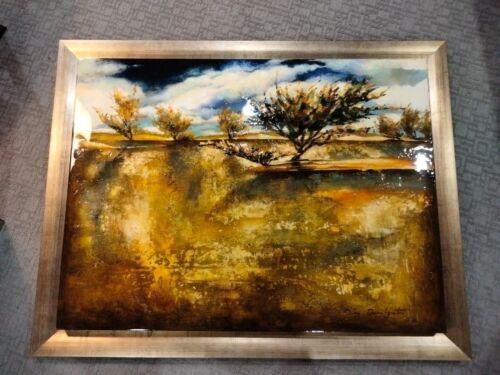 "Stunning Oleg Danilyants 40"" x 30"" acrylic / mixed media landscape on wood panel"