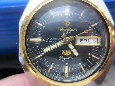 Vintage Tressa Lux Cristal Suizo Automático Reloj de Hombre Hexagonal Estuche