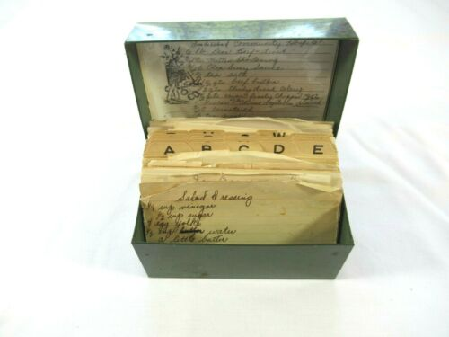 Vintage Typed Clipped Estate Recipes With Metal Box Dark Green