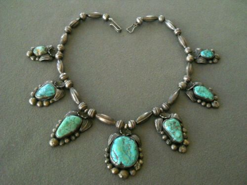 Native American Webbed Turquoise 7-Stone Sterling Silver Bead Necklace LA
