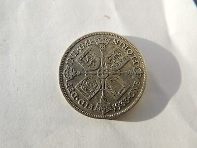 1933 GEORGE V SILVER FLORIN / TWO SHILLING COIN (VF CONDITION) - REF 213