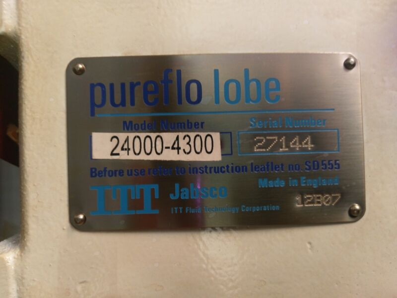 IIT PUREFLO LOBE 24000-4300 FOOD/PHARMACEUTICAL GRADE ROTARY LOBE PUMP