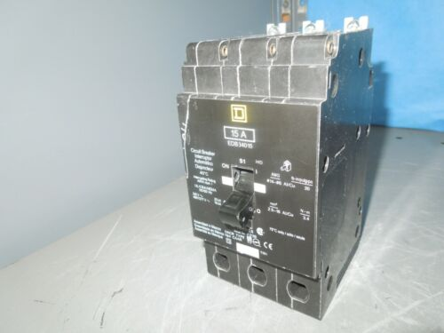 Square D Edb34015 15a 3p 480v 50/60hz Circuit Breaker Used