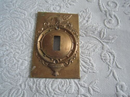 Vintage Decorative Embossed BRASS SINGLE SWITCH PLATE COVER      FREE SHIPPING