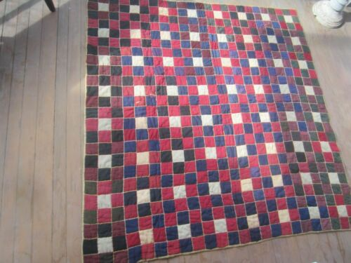"""Antique Quilt from central PA 63"""" x 66"""" red blue squares"""