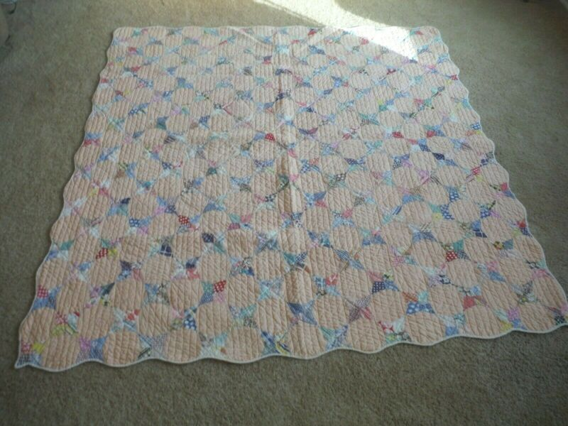 Vintage Quilt Periwinkle Pattern Four Pointed Star 30s & 40s Fabric