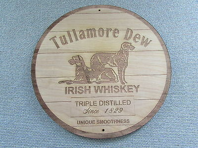 "Tullamore Dew Irish Whiskey 12"" Round Wood Sign barrel Top style"