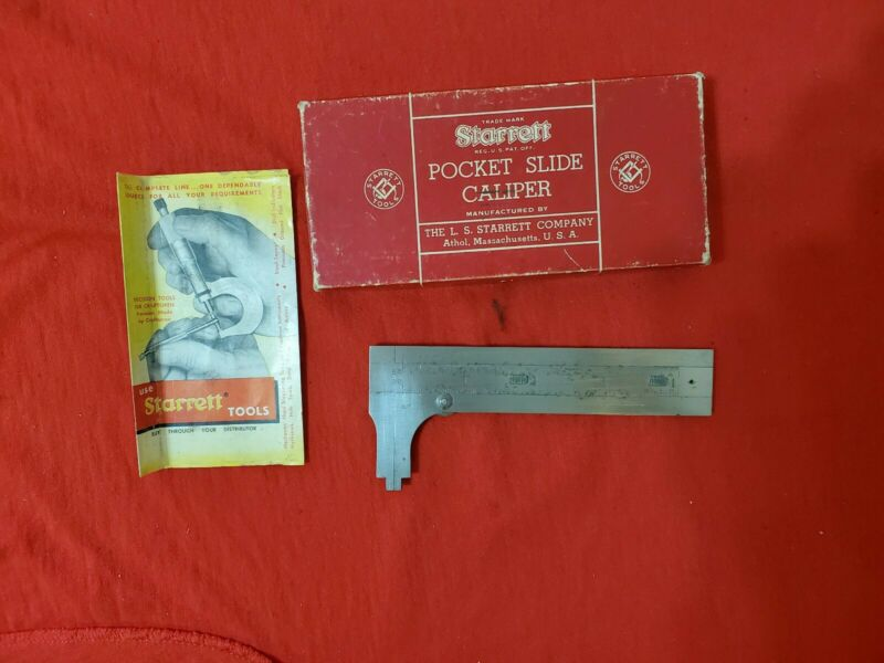 Vtg L.S. STARRETT POCKET SLIDE CALIPER No. 425 w/Original BOX