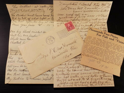 Antique Letter Home from School 1931 w/ Poem & Newspaper Clipping Daytona Beach