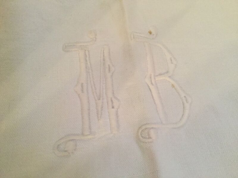 Antique French Linen & Cotton Sheet Monogrammed M B