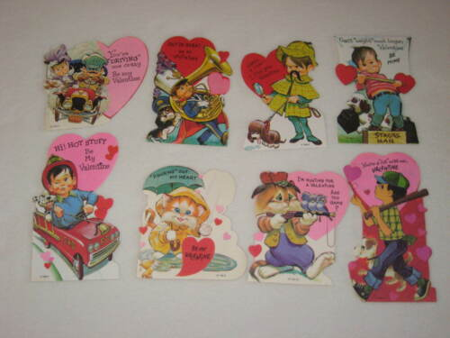 Vintage Valentine Cards 1970s Childrens Classroom Lot of 8 Boys Cats Valentines