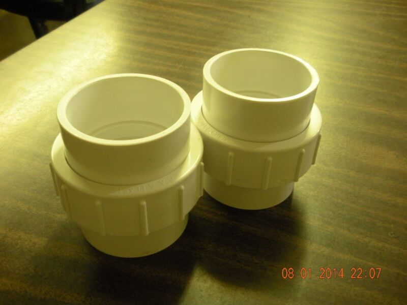 "2"" PVC UNION 2 inch pvc union two pack slip x slip  pool spa Plumbing"