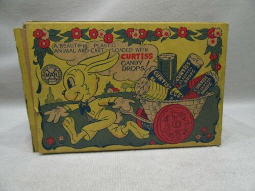 Marx Curtis Candy Drops Bunny Pulling Cart Hard Plastic.
