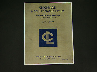 Cincinnati Lt Lathe Sizes 16 18 20 24 Operation Lube Parts Manual 24
