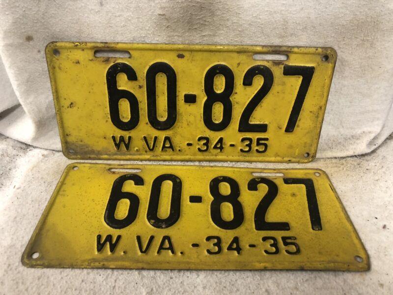 Vintage 1934 West Virginia License Plate Pair