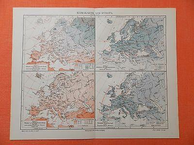 Klimakarte EUROPA Temperatur Niederschläge  KARTE  1906