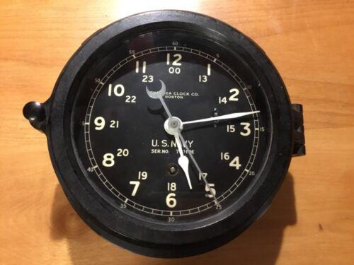 Vintage US Navy Chelsea Clock WWII  Era.  24/12hr. Bakelite WORKS