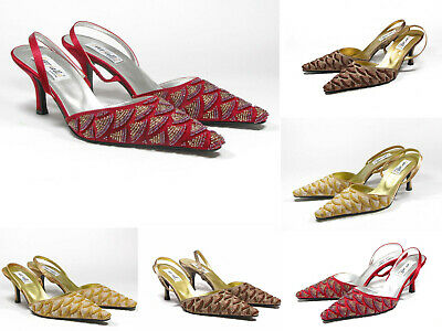 Women Beaded Stones Mid Heel Slingbacks Party Wedding Strap Pointed Sandals Size Mid-heel-slingbacks