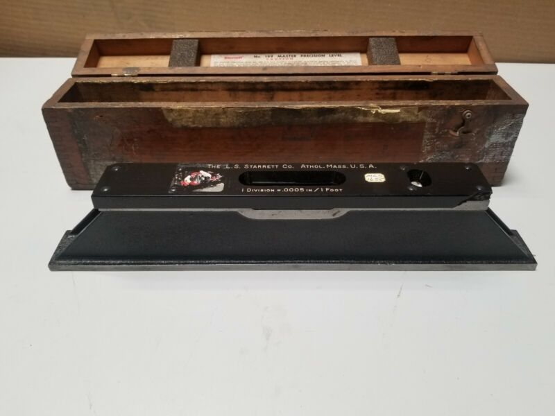 """Starrett No 199 Master Precision Level Machinist 15"""" With Box"""