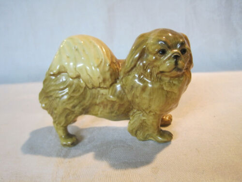 Vintage Mortens Studio ceramic pottery Pekingese dog figurine, gold label #2