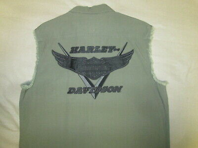 HARLEY DAVIDSON OLIVE GREEN SLEEVELES XL SHIRT,BUTTON UP,DRAB HEAVY  MOTORCYCLE