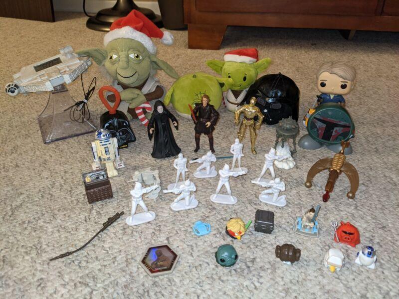 Huge Lot of Assorted Star Wars Collectible Figures Plush Clock Speaker Funko