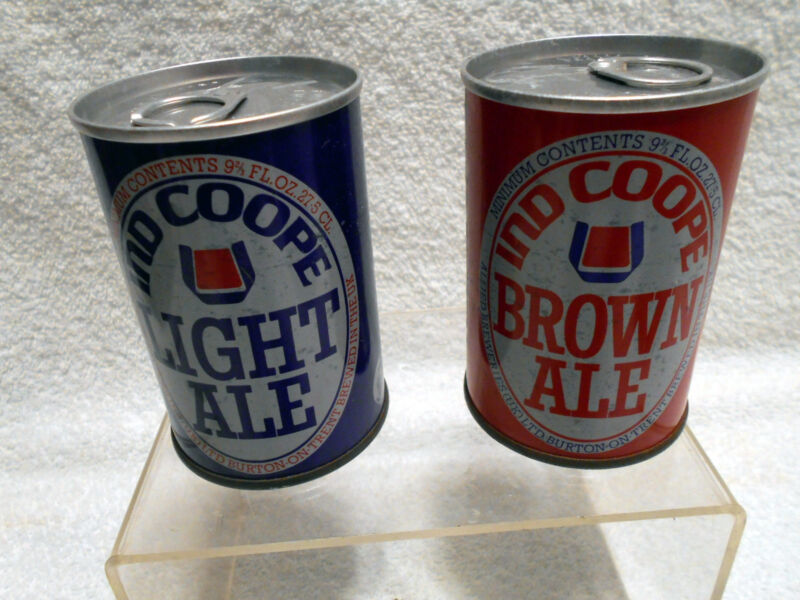 2 VTG Empty Pull Tab Beer Can Ind Coope Brown Light Ale United Kingdom 9 2/3 oz