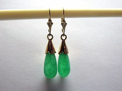 Green Jade Teardrop Drop Dangle Leverback Earrings 14K Yellow Gold Filled