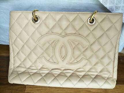 Cream Quilted Handbag Imitation Chanel