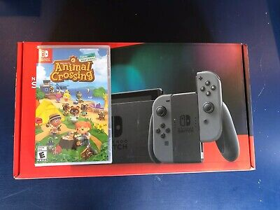 Nintendo Switch Grey Joy Cons Console NEWEST MODEL + Animal Crossing SHIPS TODAY