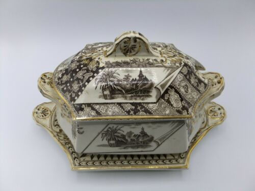 Canterbury Brown Transferware Tureen Platter Aesthetic 1883 James Beech? England