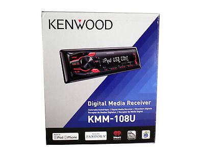 Kenwood Single DIN In Dash Car Radio Receiver MP3/ AUX/USB Stereo, KMM-108U