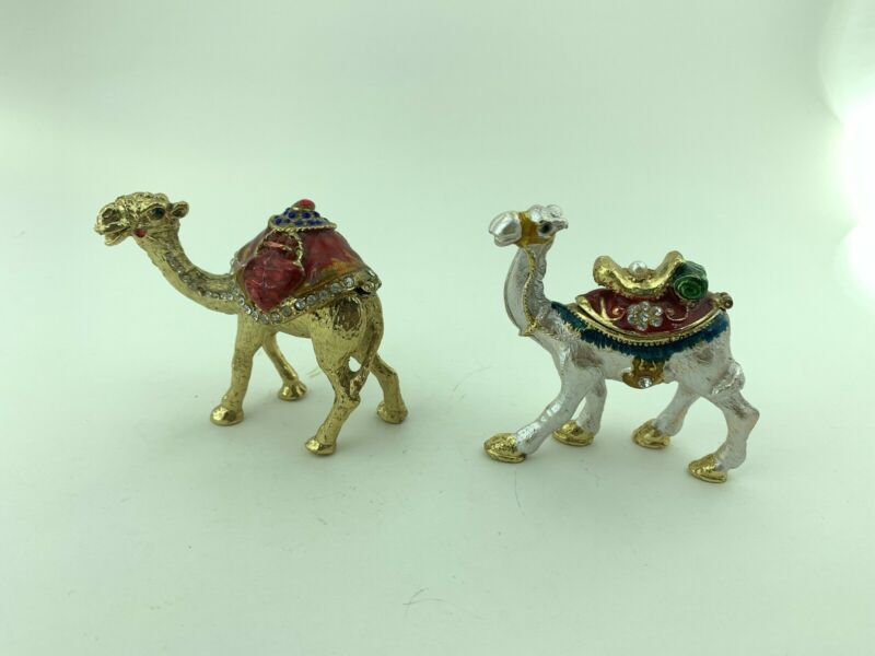 Camel Home Decorate Statue Crystal Animal Jewellery Storage 2 Pieces