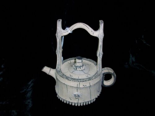 Antique Oriental CHENG NI Chinese White Stone Bamboo Tea Pot Teapot China
