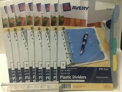 9 Sets Avery 5-tab Plastic Mini Binder Dividers Write Erase Multicolor 16180