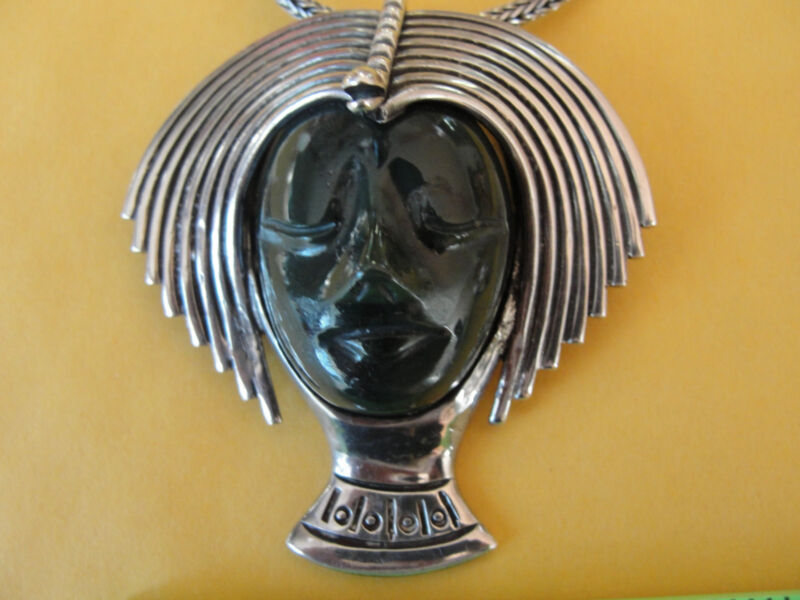 LOS BALLESTEROS Mexico Vtg STERLING PENDANT PIN NECKLACE Stone Mask 53 gram(A68)