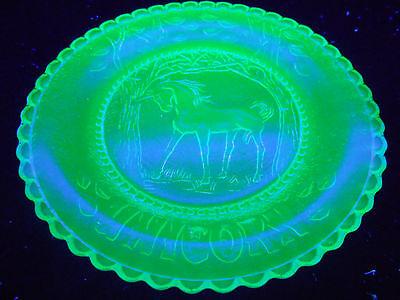 Green Vaseline Unicorn horse glass plate uranium jewelry tray pin dish childrens