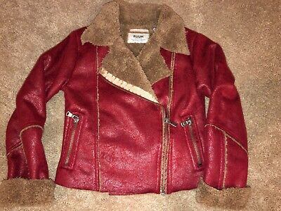 RUUM Girls Faux Suede Leather Moto Style Jacket Zipper Front, size XS 5 - 6 Girls Faux Suede Jacket