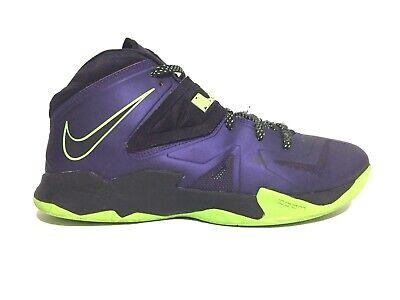 hot sale online becf2 749bf Nike Zoom Lebron James Soldier VII 7 Sneakers Purple Lime 599264 500 Sz 11